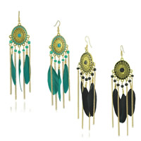 Fashion Feather Earring , Zinc Alloy, with Feather & Glass Seed Beads, brass earring hook, antique gold color plated, enamel, more colors for choice, 29x110mm, Sold By Pair