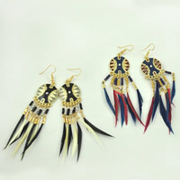 Fashion Feather Earring , Zinc Alloy, with Feather & Glass Seed Beads, brass earring hook, gold color plated, enamel & with rhinestone, more colors for choice, 21x80mm, Sold By Pair