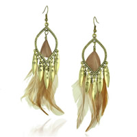 Fashion Feather Earring , Zinc Alloy, with Feather, brass earring hook, antique bronze color plated, 25x100mm, Sold By Pair