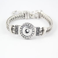 Chunck Button Bracelet, Zinc Alloy, with brass chain, Flat Round, platinum color plated, wheat chain & with rhinestone & blacken, lead & cadmium free, 21.5cm, Inner Diameter:Approx 6mm, Length:Approx 8 Inch, Sold By Strand