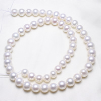 Round Cultured Freshwater Pearl Beads, natural, white, 8-9mm, Hole:Approx 0.8mm, Length:Approx 15.5 Inch, Sold By Strand