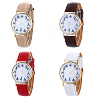 Unisex Wrist Watch, PU, with Glass & Zinc Alloy, plated, adjustable, more colors for choice, 40x5mm, Length:Approx 9.4 Inch, Sold By PC