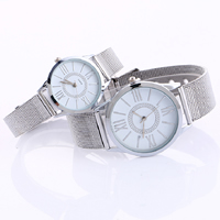 Couple Watch Bracelets, Zinc Alloy, with Glass, platinum color plated, with rivet stud & adjustable & different styles for choice, Length:Approx 9 Inch, Sold By PC