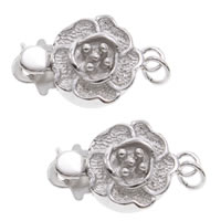 Brass Box Clasp, Flower, real silver plated, single-strand, lead & cadmium free, 14x9x5mm, Hole:Approx 1mm, Sold By PC