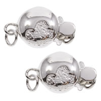 Brass Box Clasp, Flat Round, real silver plated, single-strand, lead & cadmium free, 14x8x5mm, Hole:Approx 1mm, Sold By PC