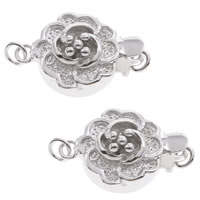Brass Box Clasp, Flower, real silver plated, single-strand, lead & cadmium free, 16x11x6mm, Hole:Approx 1mm, Sold By PC