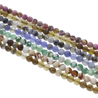 Agate Beads, Mixed Agate, Round, different materials for choice & faceted, 6mm, Hole:Approx 1mm, Length:Approx 14.5 Inch, Approx 62PCs/Strand, Sold By Strand