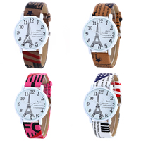 Unisex Wrist Watch, PU, with Glass & Zinc Alloy, plated, printing & with Eiffel Tower pattern & adjustable & with letter pattern, more colors for choice, 28x7mm, Length:Approx 9.4 Inch, Sold By PC