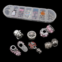 Zinc Alloy DIY European Bracelet Beads Set, beads & bracelet, with Plastic Box, antique silver color plated, 7 cells & with rhinestone, lead & cadmium free, 190x50x30mm, Hole:Approx 4-5mm, Length:Approx 8 Inch, Sold By Box