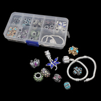 Zinc Alloy DIY European Bracelet Beads Set, beads & pendant & bracelet, with Plastic Box & Crystal, antique silver color plated, 9 cells & enamel & with rhinestone, lead & cadmium free, 130x70x22mm, Hole:Approx 4-5mm, Length:Approx 6 Inch, Sold By Box