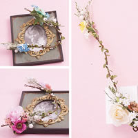 Bridal Hair Wreath, Spun Silk, with ABS Plastic Pearl & PVC Plastic, Flower, for bridal, more colors for choice, 80mm, Length:20.5 Inch, Sold By Strand