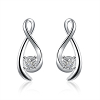 comeon® Jewelry Earring, Brass, real silver plated, with cubic zirconia, 8x19mm, Sold By Pair