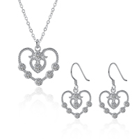 comeon® Jewelry Set, Brass, earring & necklace, Heart, real silver plated, oval chain & micro pave cubic zirconia, 16x30mm, 30x30mm, Length:Approx 17.7 Inch, Sold By Set