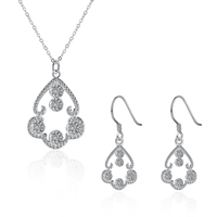 comeon® Jewelry Set, Brass, earring & necklace, real silver plated, oval chain & micro pave cubic zirconia, 13x31mm, 23x34mm, Length:Approx 17.7 Inch, Sold By Set
