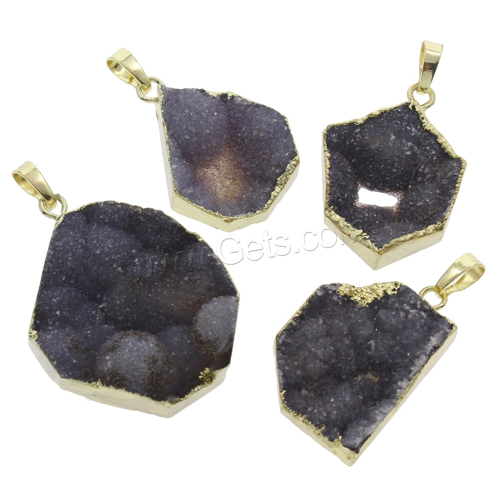 Ice Quartz Agate Pendant, with brass bail, gold color plated, natural & druzy style & mixed, 23x32x8mm-33x42x11mm, Hole:Approx 5x8mm, Sold By PC