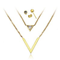 Stainless Steel Jewelry Sets, earring & necklace, with 2lnch extender chain, Letter V, gold color plated, oval chain & with cubic zirconia & with rhinestone & 2-strand, 11x8x3mm, 20x20x2mm, 2x1.5x0.5mm, 4x4x13.5mm, Length:Approx 15 Inch, Sold By Set