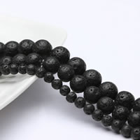Natural Lava Beads, Round, black, 5mm, Hole:Approx 1mm, Length:Approx 15 Inch, Approx 76PCs/Strand, Sold By Strand
