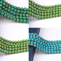 Mosaic Turquoise Beads, Round, synthetic, different size for choice, more colors for choice, Hole:Approx 1-2mm, Length:Approx 15 Inch, Sold By Strand