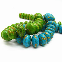 Mosaic Turquoise Beads, Rondelle, synthetic, more colors for choice, 16mm, Hole:Approx 1mm, Sold By PC