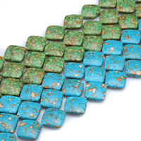 Mosaic Turquoise Beads, Rhombus, synthetic, different size for choice, more colors for choice, Hole:Approx 1mm, Length:Approx 15 Inch, Sold By Strand