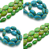 Mosaic Turquoise Beads, Flat Oval, synthetic, more colors for choice, 13x18mm, Hole:Approx 1.5mm, Sold By PC