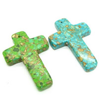 Mosaic Turquoise Pendant, Cross, synthetic, more colors for choice, 58x40mm, Hole:Approx 1mm, Sold By PC