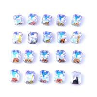 Crystal Jewelry Pendants, Rectangle, faceted, mixed colors, 10x14mm, Hole:Approx 1mm, Sold By PC