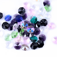 Crystal Jewelry Pendants, Octagon, faceted, mixed colors, 14mm, Hole:Approx 1mm, Sold By PC