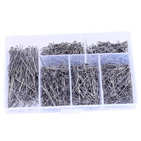 Iron Eyepins, with Plastic Box, Rectangle, plumbum black color plated, lead & cadmium free, 18-30mm, Sold By Box