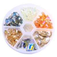 Mixed Crystal Beads, with Plastic Box, faceted, mixed colors, 77mm, Sold By Box