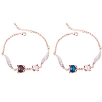 Cats Eye Bracelets, Zinc Alloy, with iron chain & Cats Eye & Crystal, with 5cm extender chain, real rose gold plated, rolo chain & faceted & with rhinestone, more colors for choice, lead & cadmium free, 180mm, Length:Approx 7 Inch, Sold By Strand
