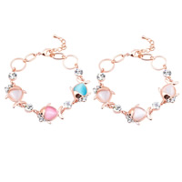 Cats Eye Bracelets, Zinc Alloy, with Cats Eye, with 5cm extender chain, Fish, real gold plated, with rhinestone, more colors for choice, lead & cadmium free, 170mm, Length:Approx 6.5 Inch, Sold By Strand