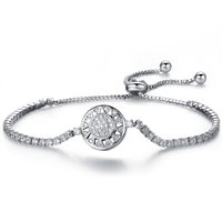 Cubic Zirconia Micro Pave Brass Bracelet, Flat Round, platinum plated, adjustable & micro pave cubic zirconia & for woman, Length:Approx 6.2 Inch, Sold By Strand