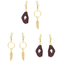Resin Zinc Alloy Earring, with Resin, iron earring hook, gold color plated, imitation druzy quartz & different styles for choice, lead & cadmium free, 58mm, 70mm, Sold By Pair