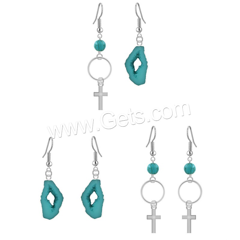 Resin Zinc Alloy Earring, with Resin, iron earring hook, platinum color plated, imitation druzy quartz & different styles for choice, lead & cadmium free, 55mm, 75mm, Sold By Pair