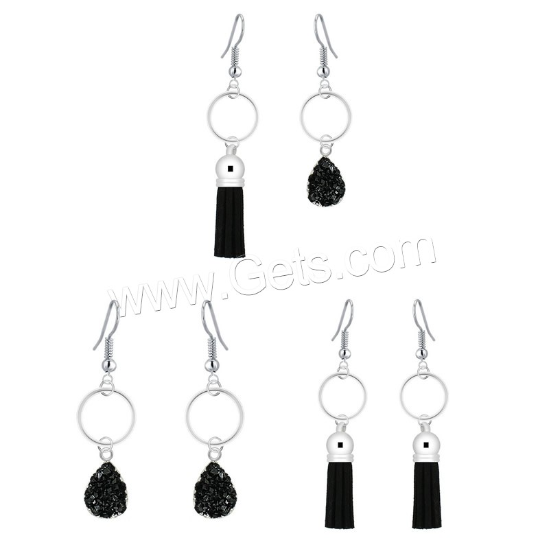 Resin Zinc Alloy Earring, with Velveteen Cord & Resin, iron earring hook, platinum color plated, imitation druzy quartz & different styles for choice, lead & cadmium free, 56mm, 73mm, Sold By Pair
