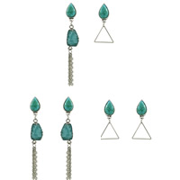 Resin Zinc Alloy Earring, with Synthetic Turquoise & Resin, stainless steel post pin, Teardrop, platinum color plated, imitation druzy quartz & different styles for choice, lead & cadmium free, 17mm, 62mm, Sold By Pair