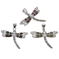 Zinc Alloy Animal Pendants, with Abalone Shell Paper & Crystal, Dragonfly, platinum color plated, faceted, more colors for choice, lead & cadmium free, 30x25x4mm, Hole:Approx 4x5mm, Sold By PC