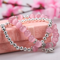 Cats Eye Bracelets, with Zinc Alloy, Money Bag, plated, with rhinestone & 2-strand, 8mm, Length:Approx 7 Inch, Sold By Strand