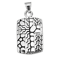 Stainless Steel Pendants, blacken, 26x46x3mm, Hole:Approx 7x10mm, Sold By PC