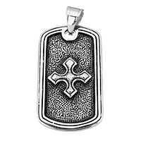 Stainless Steel Pendants, Rectangle, with letter pattern & blacken, 25.5x45x4mm, Hole:Approx 6.5x10mm, Sold By PC