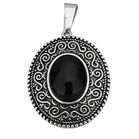 Stainless Steel Pendants, with Resin, Flat Oval, blacken, 28x35x8mm, Hole:Approx 5.5x10mm, Sold By PC