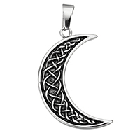 Stainless Steel Pendants, Moon, blacken, 24.5x42x3.5mm, Hole:Approx 5x10mm, Sold By PC