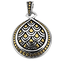 Stainless Steel Pendants, Teardrop, plated, two tone & blacken, 29.5x36x5mm, Hole:Approx 6x8mm, Sold By PC