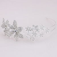 Bridal Hair Band, Zinc Alloy, Flower, platinum color plated, handmade & for bridal & with rhinestone, lead & cadmium free, 60mm, Sold By PC