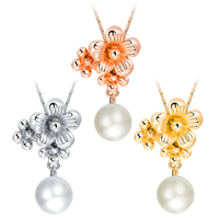 Newegg® Jewelry Necklace, Zinc Alloy, with Plastic Pearl, with 2.3 lnch extender chain, Flower, plated, valentino chain & for woman, more colors for choice, 14x31mm, Length:Approx 16.5 Inch, Sold By Strand