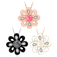 Newegg® Jewelry Necklace, Zinc Alloy, with Cats Eye, with 1.9 lnch extender chain, Flower, plated, valentino chain & for woman & enamel & with rhinestone, more colors for choice, 38x38mm, Length:Approx 16.5 Inch, Sold By Strand