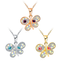 Newegg® Jewelry Necklace, Zinc Alloy, with 2.3 lnch extender chain, Butterfly, plated, oval chain & for woman & with rhinestone, more colors for choice, 24x26mm, Length:Approx 16.7 Inch, Sold By Strand