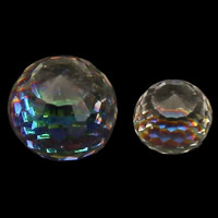 Crystal Cabochons, Round, different size for choice & colorful plated & flat back & faceted, Crystal Clear, Sold By PC