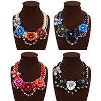 Fashion Statement Necklace, Zinc Alloy, with aluminum flower ornament & Velveteen Cord & Crystal, with 3.9lnch extender chain, gold color plated, with painted & for woman & faceted, more colors for choice, 80mm, Length:Approx 19.6 Inch, Sold By Strand